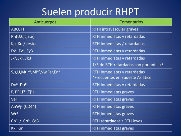 Suelen producir RHPT