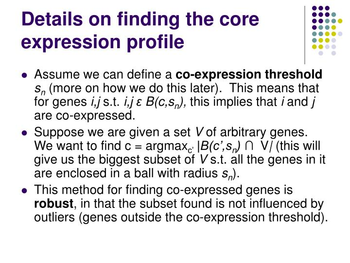 Details on finding the core expression profile