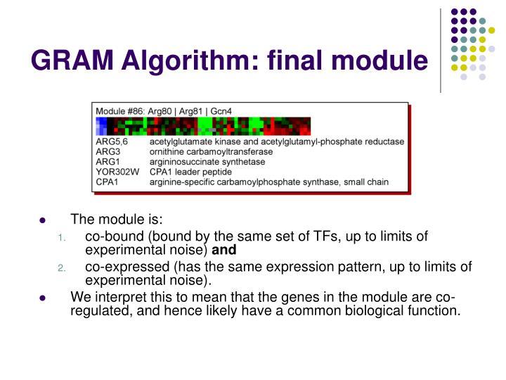 GRAM Algorithm: final module
