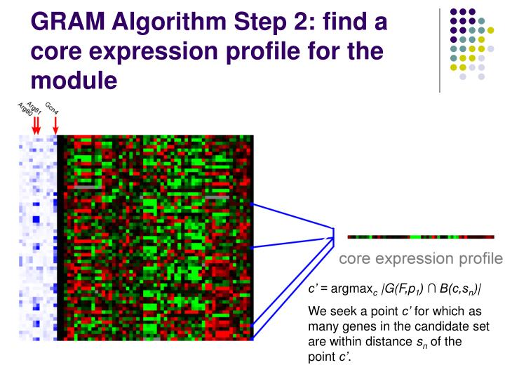 GRAM Algorithm Step 2: find a core expression profile for the module