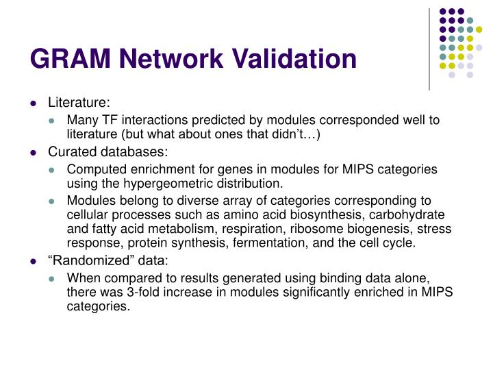 GRAM Network Validation