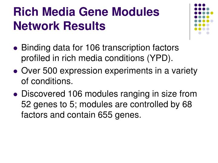 Rich Media Gene Modules Network Results
