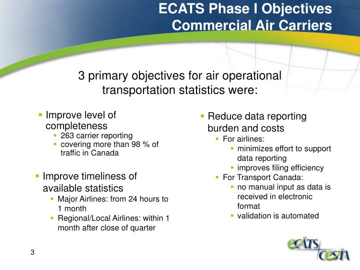 Ecats phase i objectives commercial air carriers