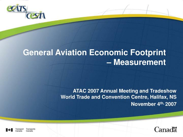 General Aviation Economic Footprint – Measurement