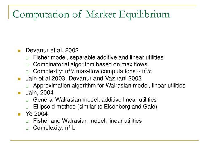Computation of Market Equilibrium