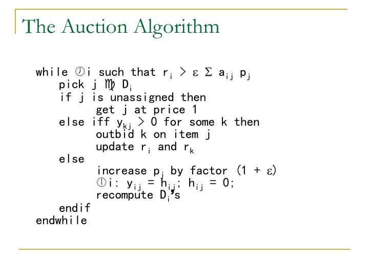 The Auction Algorithm