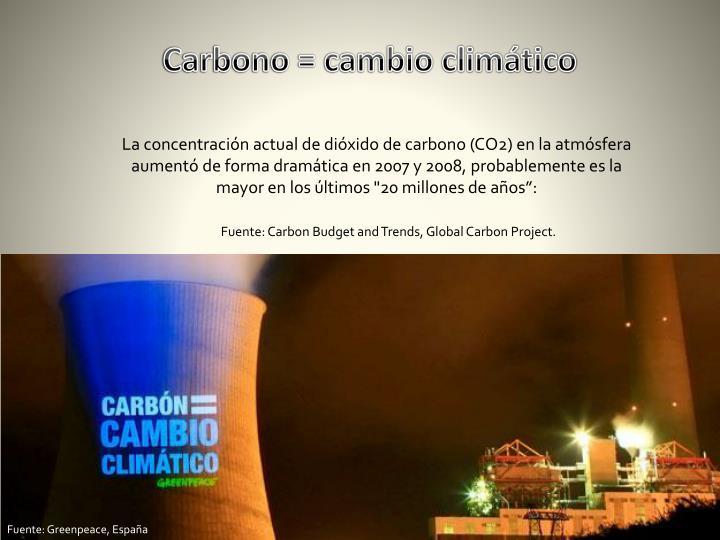 Carbono = cambio climático