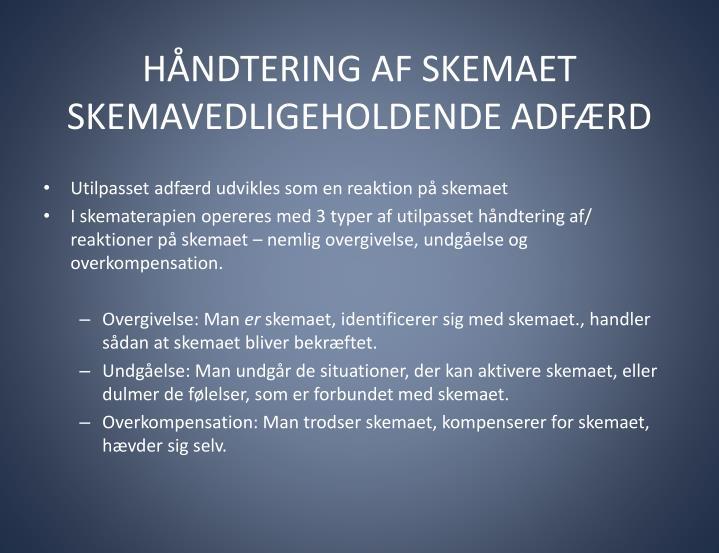 HÅNDTERING AF SKEMAET SKEMAVEDLIGEHOLDENDE ADFÆRD