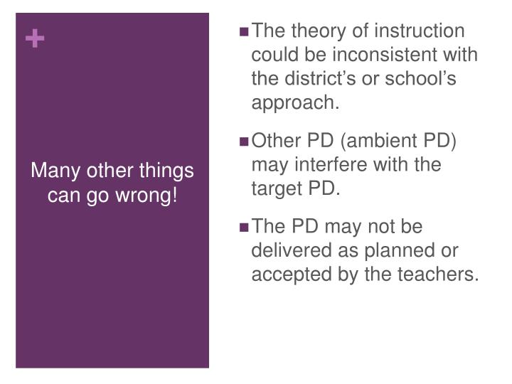 The theory of instruction could be inconsistent with the district's or school's approach.