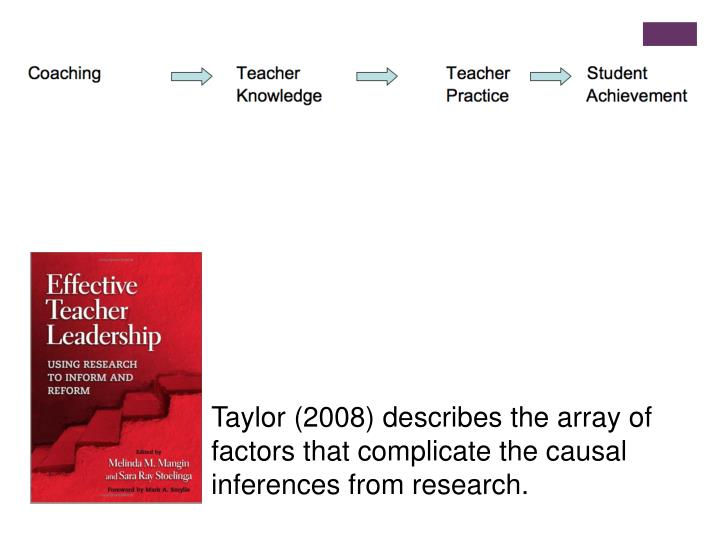 Taylor (2008) describes the array of factors that complicate the causal inferences from research.