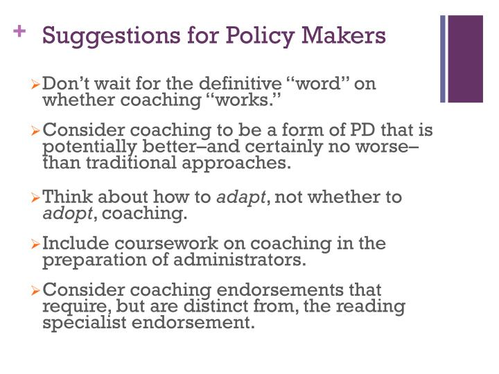 Suggestions for Policy Makers