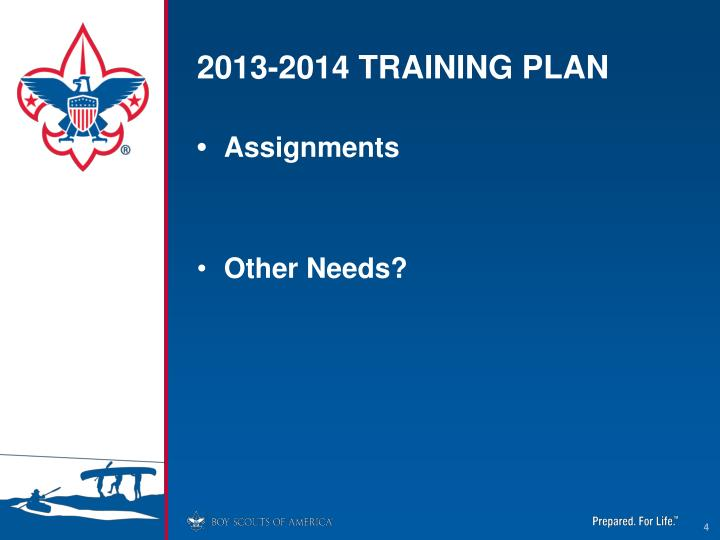 2013-2014 TRAINING PLAN
