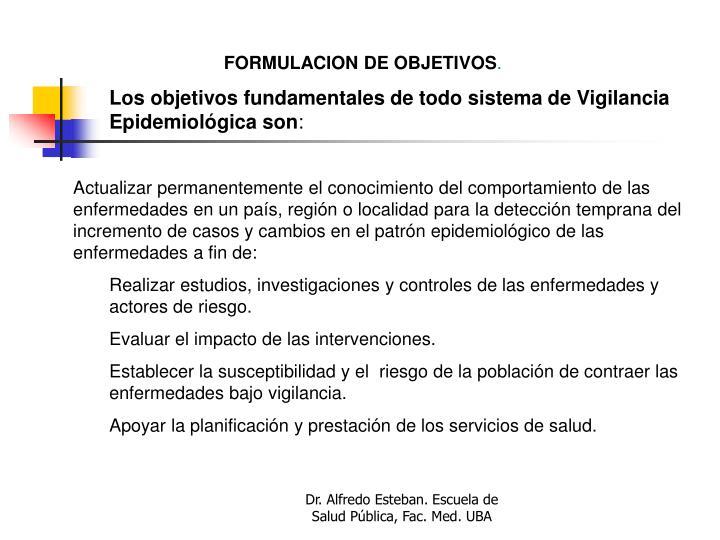 FORMULACION DE OBJETIVOS