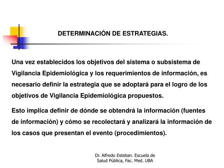 DETERMINACIÓN DE ESTRATEGIAS.
