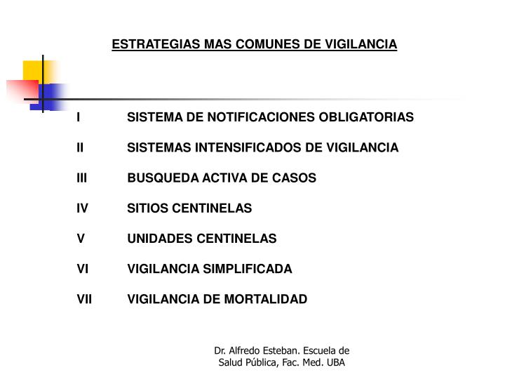 ESTRATEGIAS MAS COMUNES DE VIGILANCIA