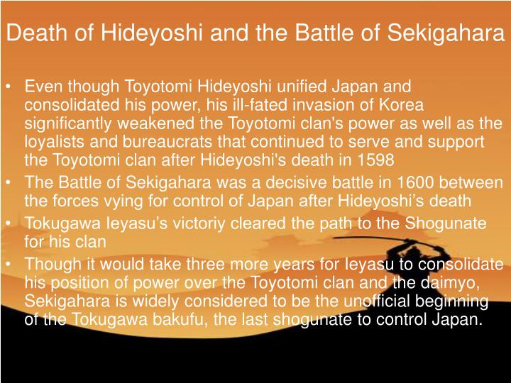 Death of Hideyoshi and the Battle of Sekigahara