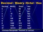 decimal binary octal hex