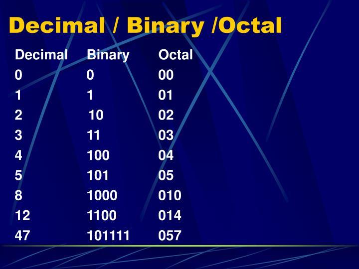 Decimal / Binary /Octal
