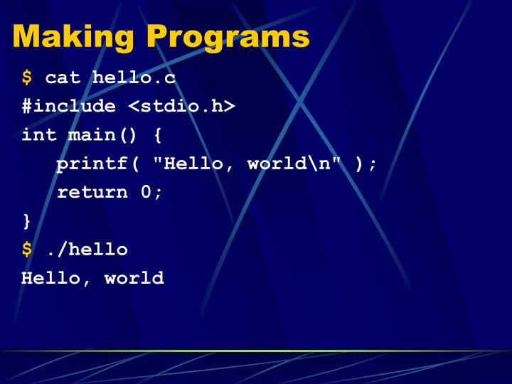 Making Programs