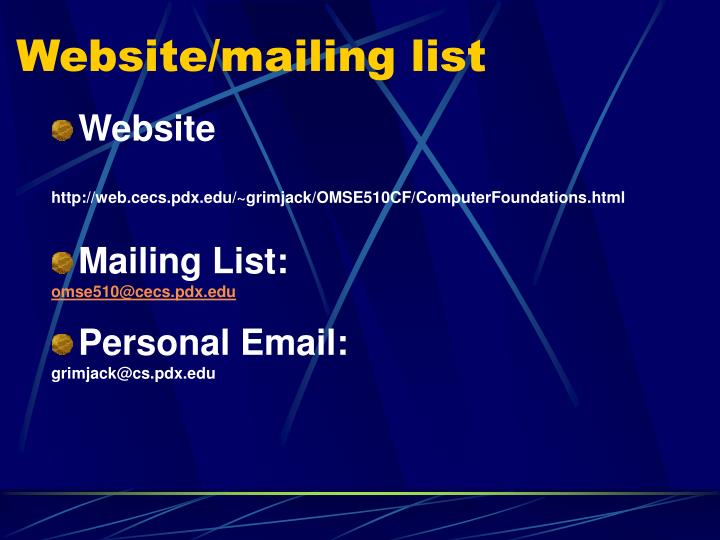Website mailing list