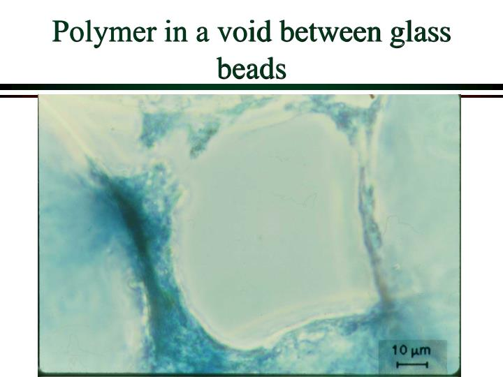 Polymer in a void between glass beads