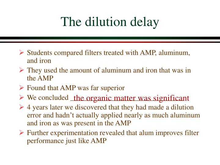 The dilution delay