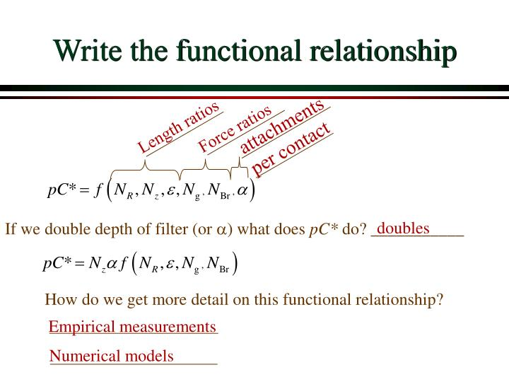 Write the functional relationship