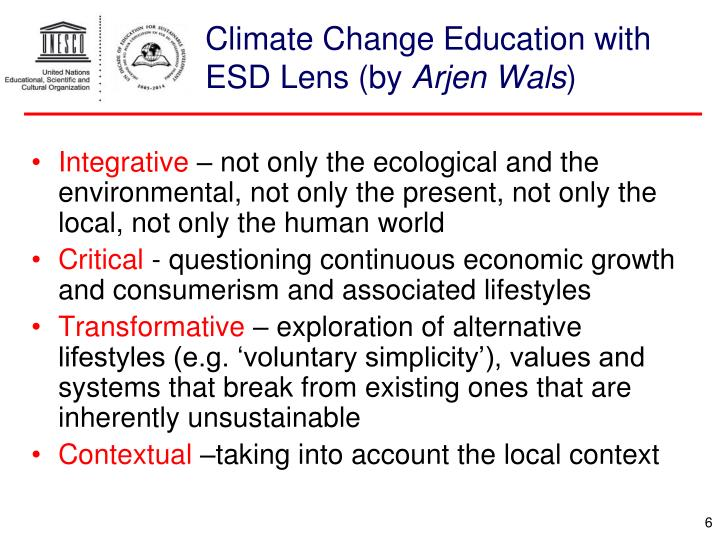 Climate Change Education with ESD Lens (by