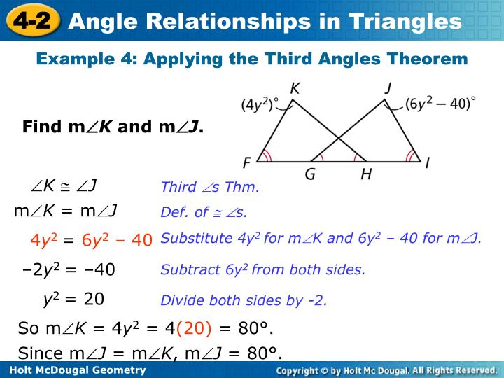 Example 4: Applying the Third Angles Theorem