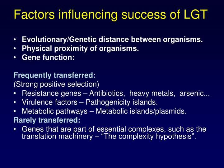 Factors influencing success of LGT