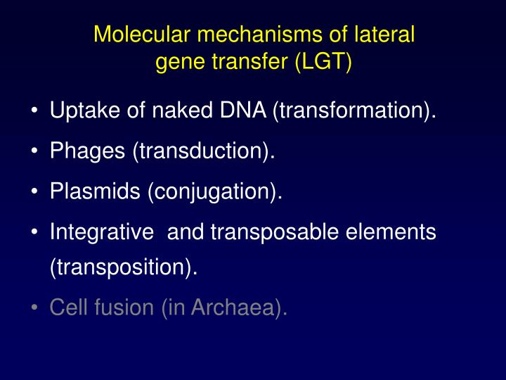 Molecular mechanisms of lateral gene transfer (LGT)