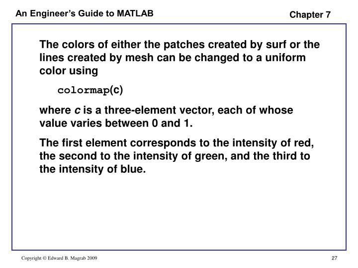 The colors of either the patches created by surf or the lines created by mesh can be changed to a uniform color using