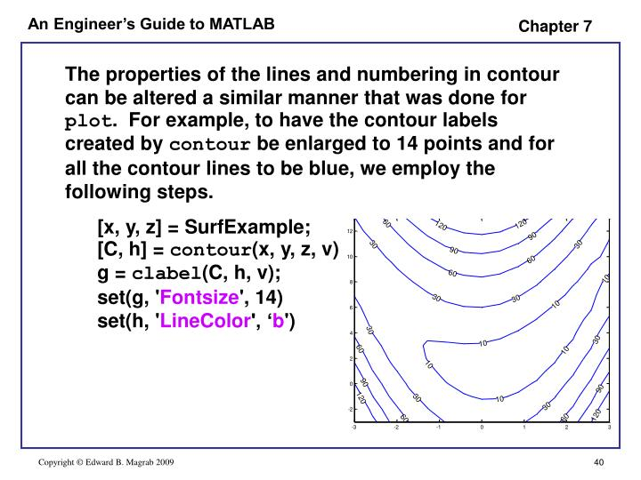 The properties of the lines and numbering in contour can be altered a similar manner that was done for