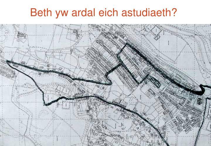 Beth yw ardal eich astudiaeth?