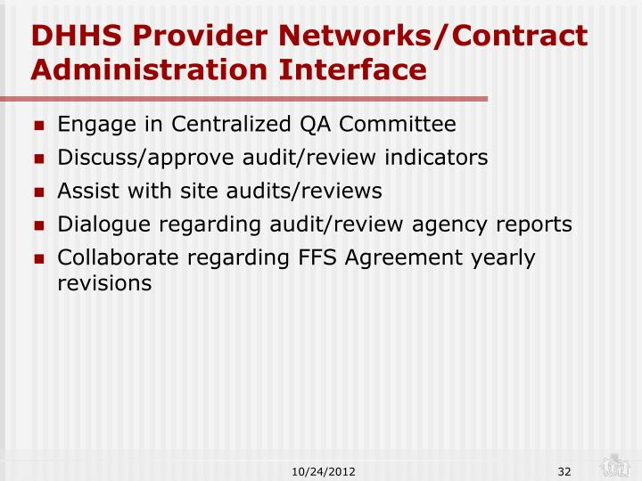 DHHS Provider Networks/Contract Administration Interface