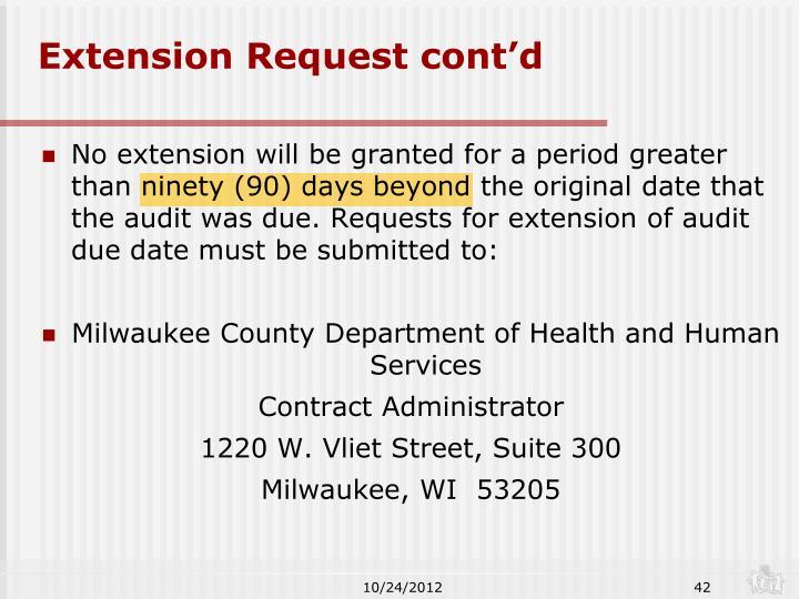 Extension Request cont'd