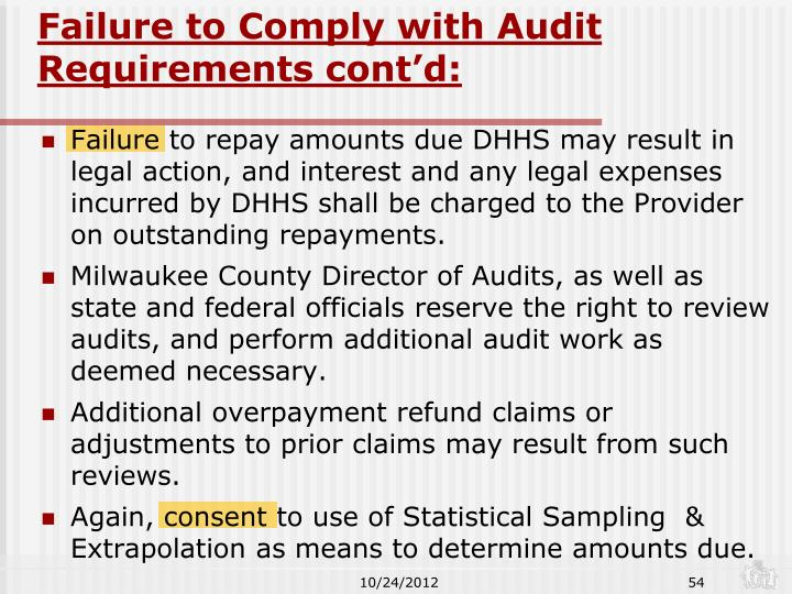 Failure to Comply with Audit Requirements cont'd:
