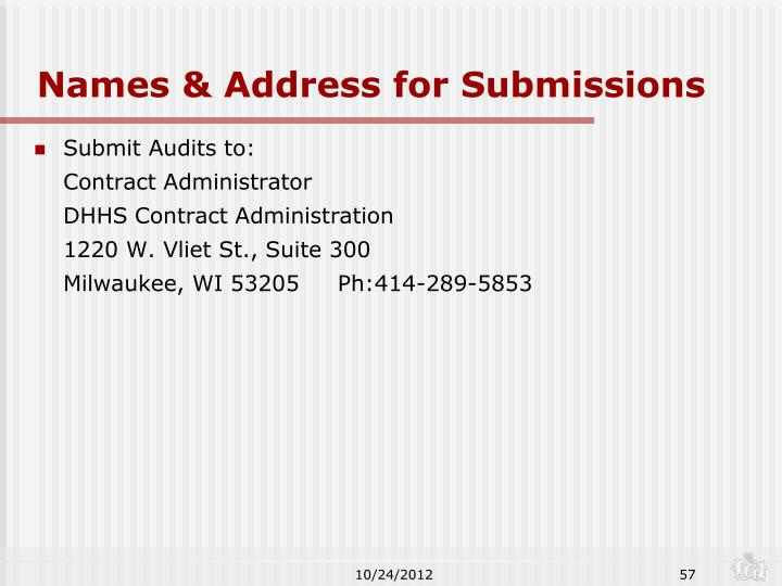 Names & Address for Submissions