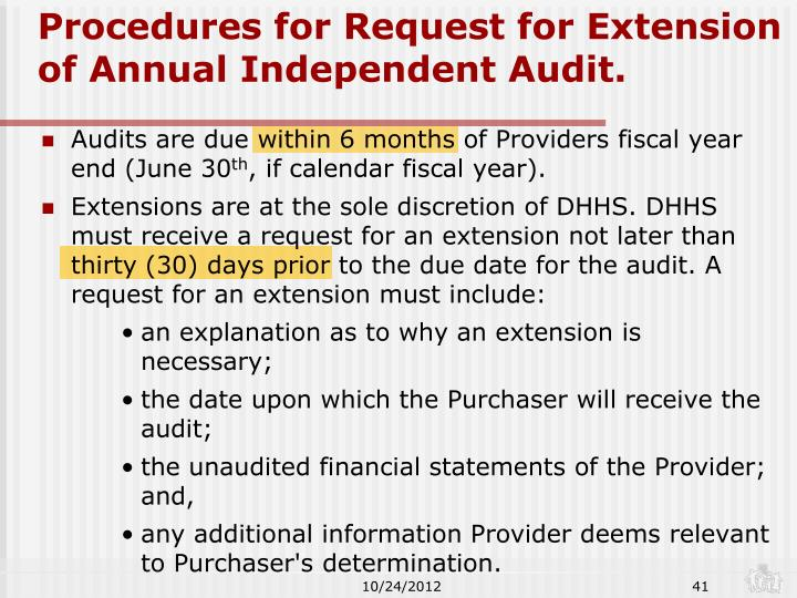 Procedures for Request for Extension of Annual Independent Audit.