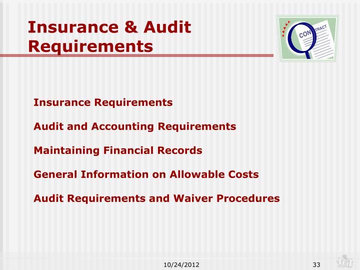 Insurance & Audit Requirements