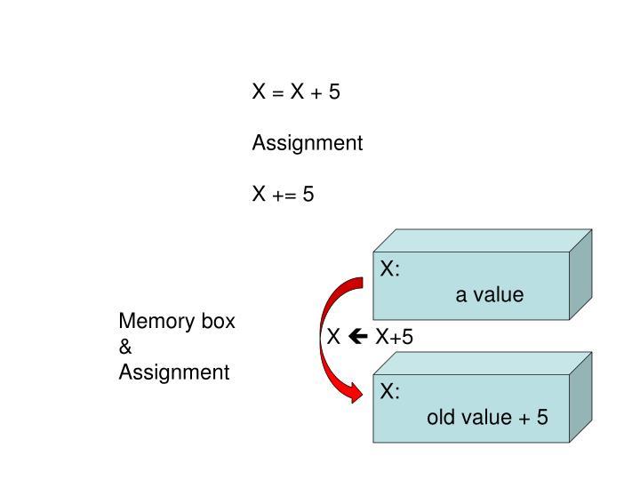 X = X + 5