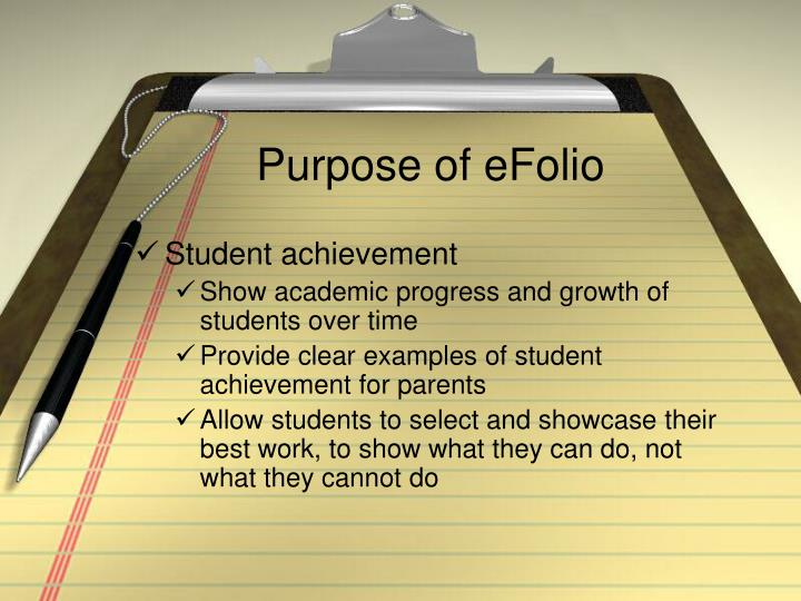 Purpose of eFolio