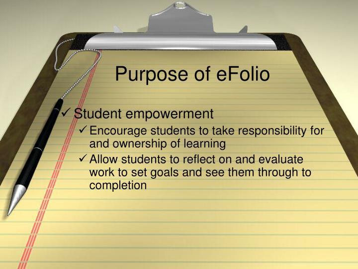 Purpose of eFolio