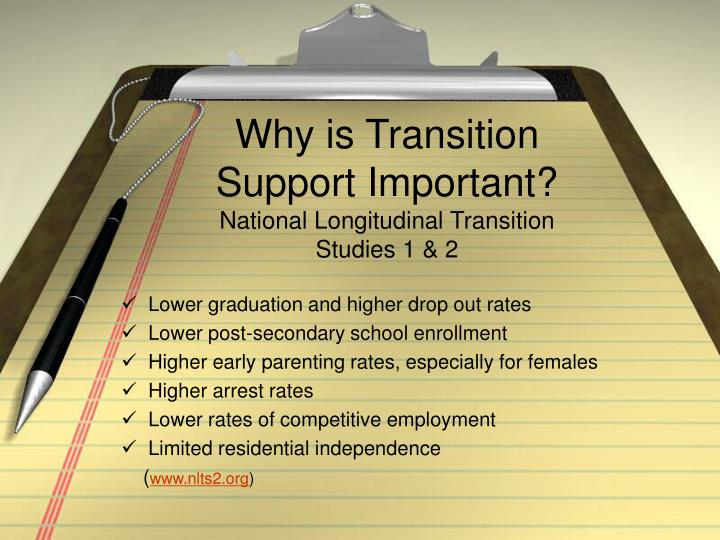 Why is transition support important national longitudinal transition studies 1 2