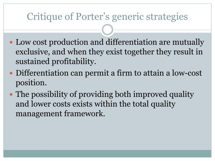 Critique of Porter's generic strategies