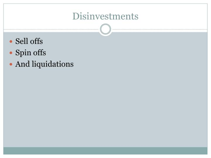 Disinvestments