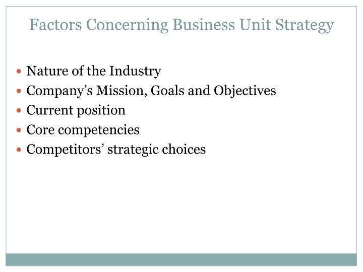 Factors Concerning Business Unit Strategy