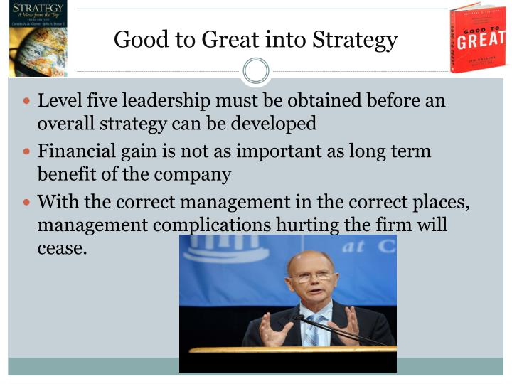 Good to Great into Strategy
