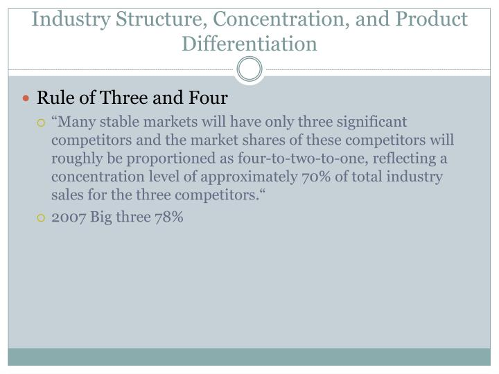 Industry Structure, Concentration, and Product Differentiation