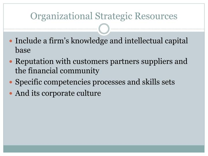 Organizational Strategic Resources